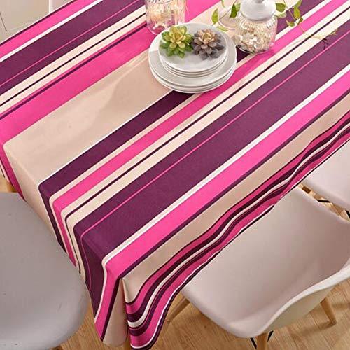 Nappe de tableNappe imprimée en nappe de table basse en polyester à rayures imperméable et résistante à l'huile,pinkstripes,130cm*180cm