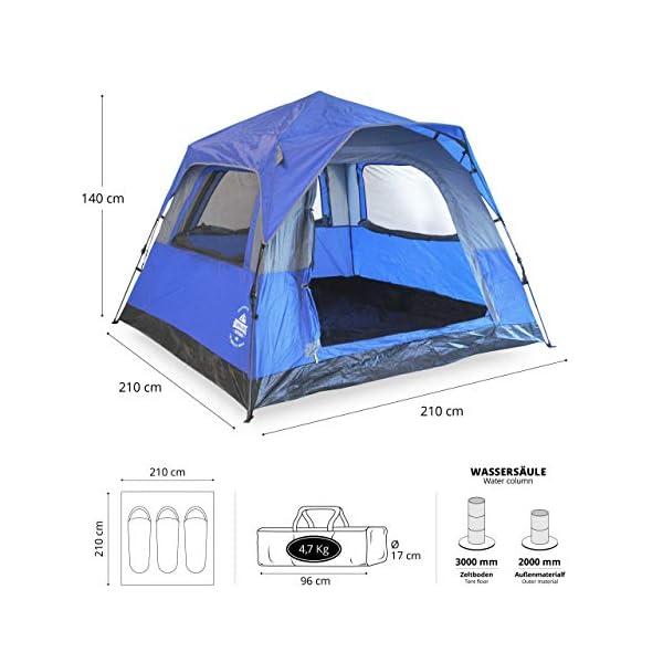 Lumaland Outdoor Pop Up Confort Tienda de campaña para 3 Personas Camping Festival 210 x 210 x 140 cm con Bolsa de… 1
