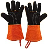 Photo de Btirce (1 Pair) BBQ Extremely High Temperature Gloves, Kitchen Silicone Gloves with Five Fingers, BBQ Grill Cooking Gloves, Heat-Resistant Oven Gloves Set