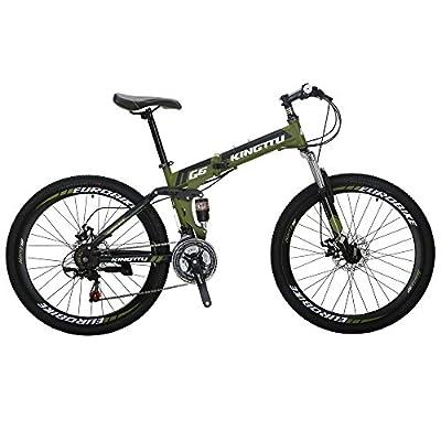 Kingttu G6 Mountain Bike 21 Speed 26 Inches Regular Spoke Wheel Dual Suspension Folding Bicycle ArmyGreen