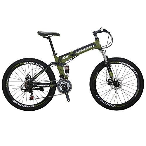 Kingttu KTG6 Mountain Bike 21 Speed 26 Inches Dual Suspension Folding Mountain Bike Army Green