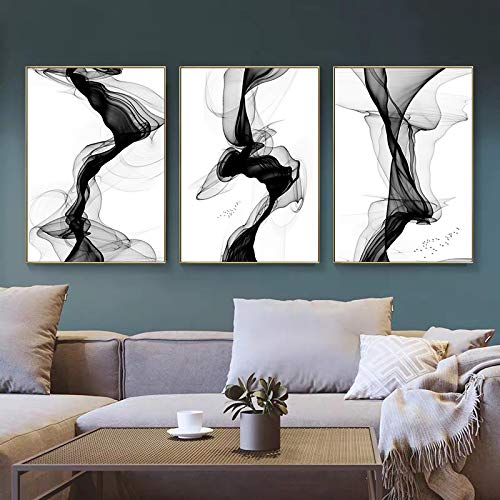 Pintura de lienzo moderna, carteles e impresiones artísticos de línea abstracta negra, cuadros de pared para sala de estar, sofá, decoración del hogar, 40X60cmx3pcs sin marco