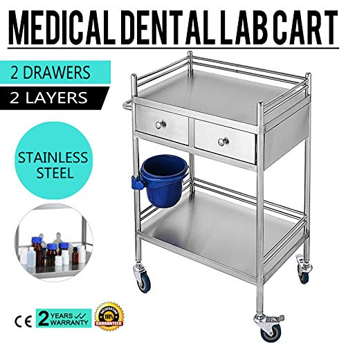 VEVO Laboratorio Médico Dental Carros Servicio Carro 2 Cajones Acero Inoxidable Portátil