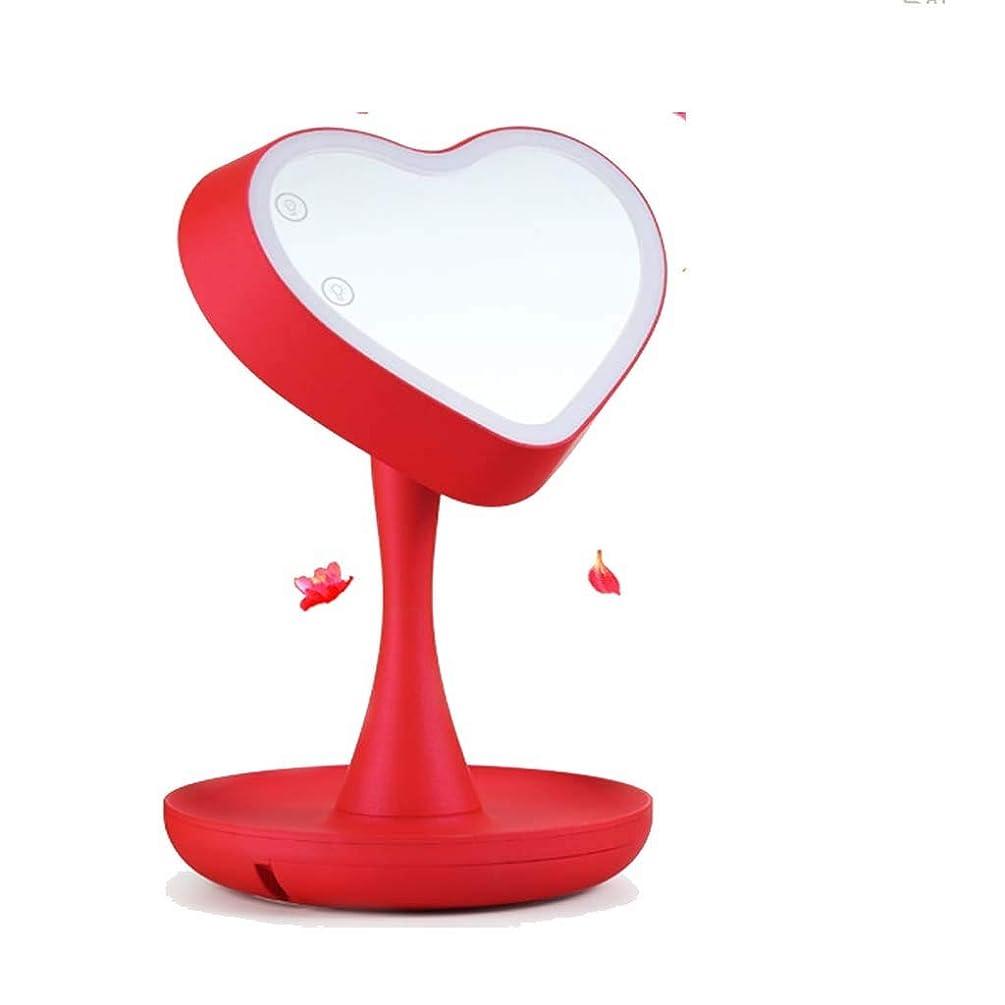 裁定エラー余剰洗面化粧台ミラー 照明付き化粧台ミラー自体は化粧鏡タッチスクリーン調光、カウンタートップ化粧台ミラー、回転明るさ調節可能な美容化粧品鏡、バスルームミラー 化粧鏡 (Color : Red, Size : 210*195*300mm)