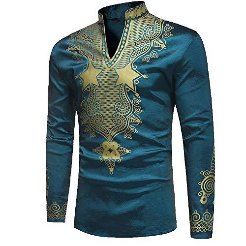 Heren lange mouwen V-shirt hals nationale bedrukken chique bovenstuk vintage mode slim fit top blouse hemd