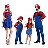 Hivia Costumi di Famiglia Set Costumi di Carnevale Super Mario Luigi per Bambini Adulti Festa di Carnevale di Halloween Cosplay Cappello + Vestiti + Barba 3 Pezzi
