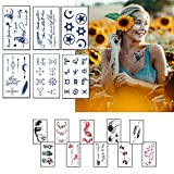 Large Temporary Tattoo Fake Tattoos, Large Sketch Black Rose Flower Fake Tattoos Stickers That Look Real For Women