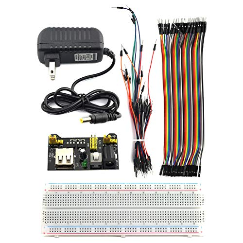 DZS Elec 5 in 1 Breadboard Starter Learning Kit - 830 Tie-Point Breadboard, Power Module, 12V 1A Power Adapter, Jumper Wire, Male to Female Jumper Line for Arduino, Raspberry Pi etc. Project (108pcs)