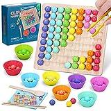 Juguete de Clip de Madera,Juego de Cuentas de Clip,Juguete de Tablero de Madera, Infantil Juguetes Montessori Clasificación,Juguetes Educativos 3 años,Juego de Combinación de Colores