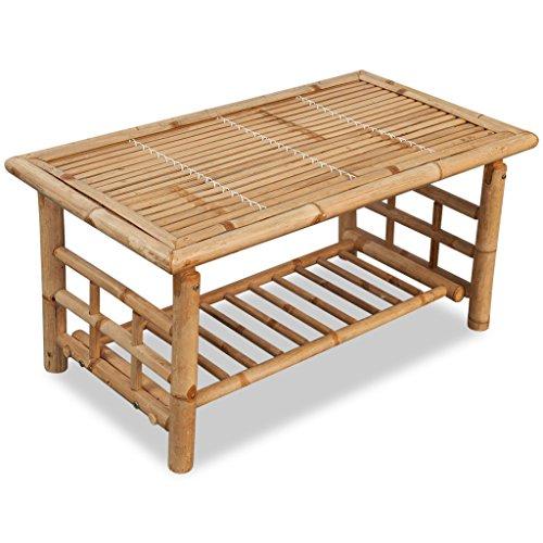 Festnight Table Basse Bambou pour Salon ou Extérieur Design Simple 90 x 50 x 45 cm