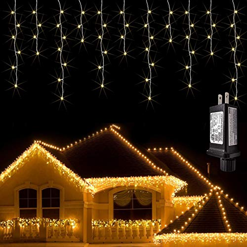 JMEXSUSS 38.8FT 400 LED Icicle Lights Outdoor Waterproof Icicle Christmas Lights with 80 Drops Warm White Icicle Lights Indoor Decorations