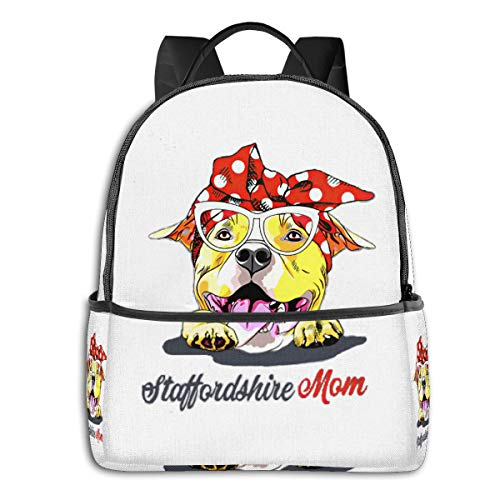Amstaff Gift American Staffordshire Terrier Dog Mom Side Themed Casual Shoulders Backpack Travel Mini Bookbag Book Back School Bag For Girls Boy Women Men Merchandise