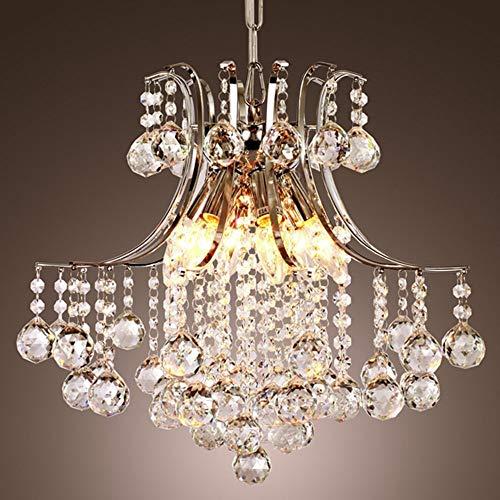 Lightsjoy Lustre de Cristal Luminaire Intérieur Plafonnier Chambre Luminaire Moderne Eclairage de Plafond Suspension Décorative Finition Chrome pour Chambre Salon Resteaurant Chambre