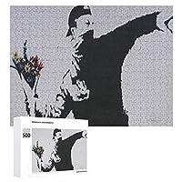 ジグソーパズルBanksy 花を捨てる少年、木質、成層なし、自家製デコレーション、すべての年齢層に適しています(500 PCS)