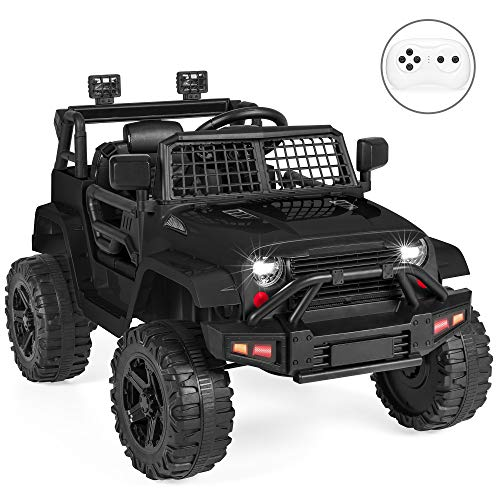 Best Choice Products 12V Kids Ride On Truck Car w/Parent Remote Control, Spring Suspension, LED Lights - Black