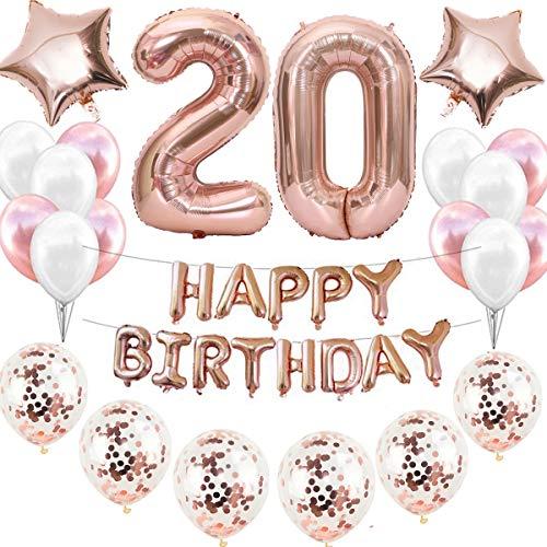 20. Decorazione di compleanno in oro rosa, per ragazze, 20 anni, 20° compleanno, decorazione per bambine, con coriandoli, palloncini a forma di cuore, stella