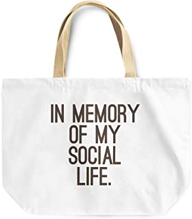 Loud Universe In Memory Of My Social Life Reusable With Words Tote Bag, 30 x 30 x 10 cm, Multicolor