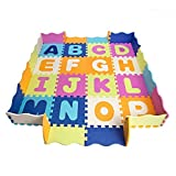 Baby Play Mat with Fence, foam letters, and tiles. Playmat for kids, toddlers, & infants. Tummy Time mat, Ball pit, activity center gym floor playpen. 57'x 57', over 74' across!