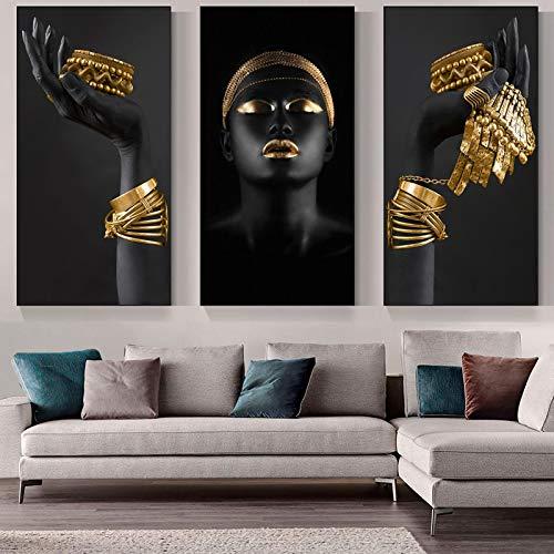 Brazalete de Oro Arte Impresión en Lienzo Póster de Pintura Piel Negra Africana Mujeres Imagen de Pared de Sala de Estar Moderna Decoración del hogar-40x80cm 3 Piezas Sin Marco