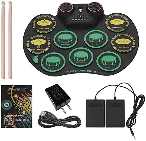 THDFV Bluetooth Electronic Drum Kit Portable Practice Drum pad,for Computer DTX Games, Waterproof Silicone,Best Gifts for Children
