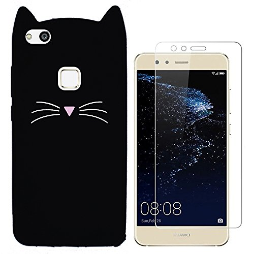 Hcheg 3D Silicone Protective Case Cover for Huawei P10 lite Cover cat Design Black Case Cover + 1X Screen Protector