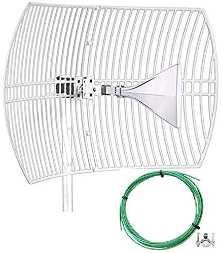 RFBoost Parabolic Ultra Wide-Band Cellular Antenna (Long Range) High Gain Parabolic Grid (Weatherproof) Outdoor Cell Booster 26 dBi Gain T-Mobile, Verizon, AT&T, LTE, 4G, 5G, 5Ge, GSM W/Grounding Kit