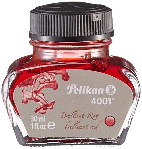 Pelikan 4001 Bottled Ink for Fountain Pens, Brilliant Red, 30ml, 1 Each (301036)