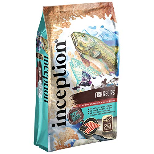 Inception Dry Dog Food Fish Recipe – Complete and Balanced Dog Food – Legume Free Meat First Dry Dog Food – 4 lb. Bag (13278)