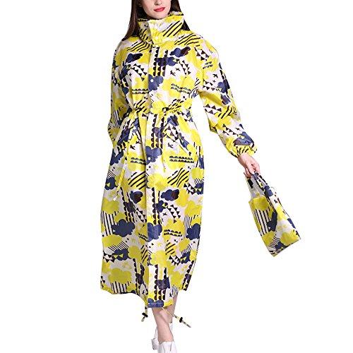 Damen Regenmantel mit Kapuze, wasserdicht, winddicht, leicht, modisch, faltbar, lang, bunt bedruckt, Größe L Gr. L/X-Large, Gelb Clound