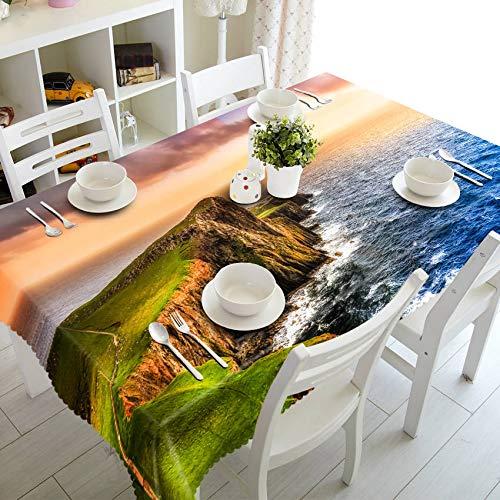 XXDD Mantel de patrón de Cascada de Paisaje 3D Engrosado Mantel de Comedor de Cocina Mantel Rectangular Cubierta de Mesa de Comedor A2 140x200cm