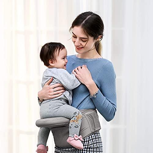REENUOヒップシート抱っこひも抱っこ紐ベビーキャリアウエストキャリーベビーシート抱っこベルトたためるヒップシート通気メッシュ赤ちゃん新生児軽量腰ベルト調整可折りたたみ角度調節可収納袋付き出産祝い対面抱っこ前向き抱っこ腰抱っこ(0~3歳まで)(灰色)