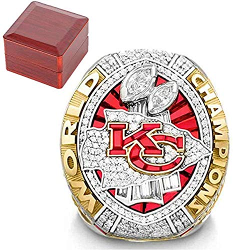 GUOSHUFANG Kansas City Chiefs Meisterschaft-Ring für Männer, 2019-2020 NFL Super Bowl Replica Ringe Geschenk für Fans 14码 Größe8-14