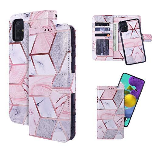 QLTYPRI Samsung Galaxy A51 Hülle, [abnehmbar] Magnetische Brieftaschen-Hülle PU Leder TPU Bumper mit Kartenhalter Kickstand Stoßfest Flip Wallet Hülle für Samsung Galaxy A51 - Marmor