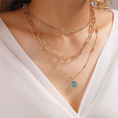 Colgante colgante de la gota de agua de piedra de cristal de lujo para las mujeres encantos Accesorios de regalo de joyería de fiesta de cadena gruesa