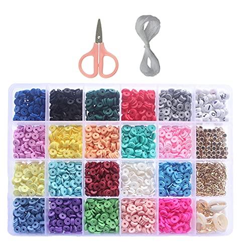 Cuentas de arcilla para enhebrar y hacer joyas, juego de 20 colores, juego de perlas para manualidades, joyas, para pulseras, pendientes, collares, fabricación de joyas, para niños (6 mm)