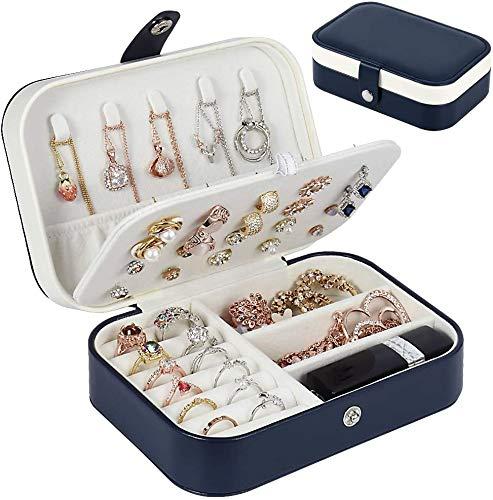 Annhao Joyero pequeño joyero de viaje con 2 capas portátil para pendientes, anillos, collares, pulseras, 16,5 x 11,5 x 5,5 cm (azul oscuro)