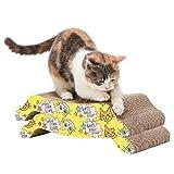 HAPPY HACHI 2 Piezas Rascador Carton para Gatos con Hierba Gatera Cama Cartón Corrugado Sofá para Gatito Doble Cara Resistente Arañazos para Gatitos Pequeños Grandes (43*21*4 cm, Amarillo*2 Piezas)