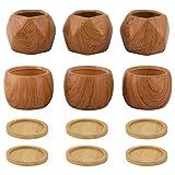 Coolty Macetero Suculento de Cerámica, Diseño de Madera Pequeño Macetero, Macetero de Cactus con Bandeja de Bambú para Decoración del Hogar y la Oficina Mesa de Comedor Sala de Estar Idea Regalo