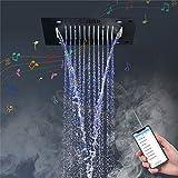 WXJLYZRCXK Sistemas de Ducha de Baño con Grifo de Agua Sistema de Ducha Musical, Baño Iluminación Led Inteligente Rainbow Waterfall Termostático Juego de Grifería de Ducha Musical de 16 Pulgadas; Mas