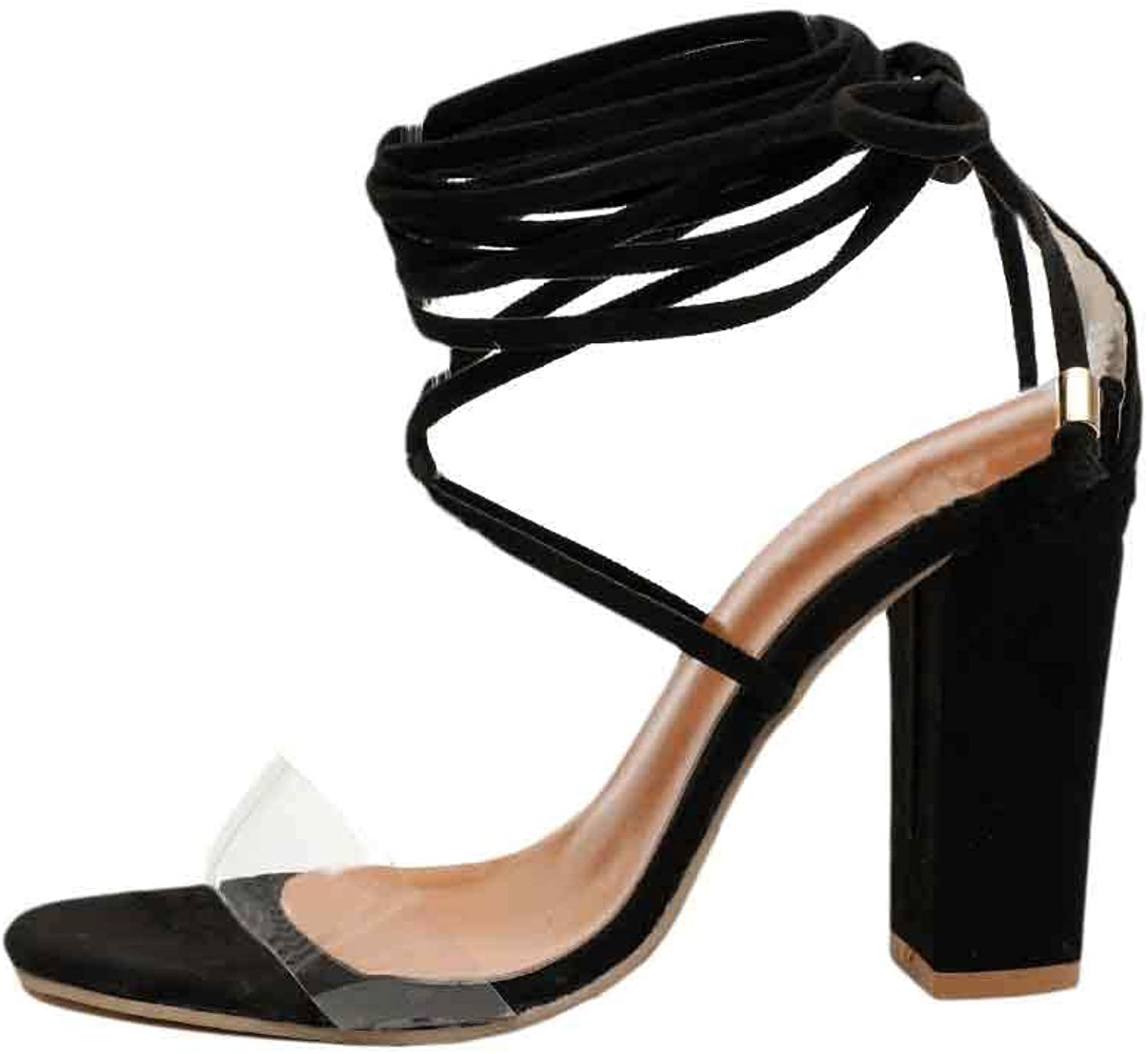 Huicai Ladies Solid color Strappy Clear Toe Hollow Thicken High Heeled shoes