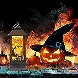 Farol de Halloween con LED, farolillo decorativo de Halloween, farol exterior, estilo marroquí, decoración de Halloween, farol con asa, calavera terrorífica, para jardines y fiestas de Halloween (b)