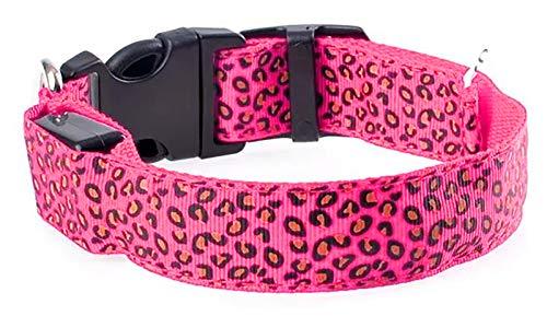 DMFSHl Collar Luminoso Perro, Collar Led Perro, Collar para Mascotas Ajustable de Leopardo con 3 Modos de Parpadeo para Aumentar la Visibilidad por la Noche (Rosado, 43-60 cm)
