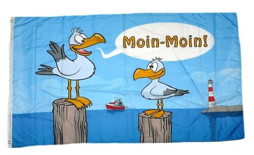 Flagge / Fahne Moin Moin Möwen 90 x 150 cm