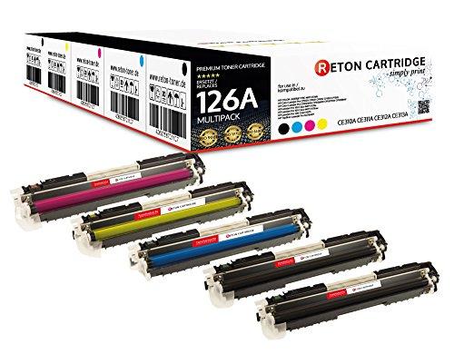 5 Original Reton Toner | 30% höhere Reichweite | kompatibel zu CE310A CE311A CE312A CE313A HP 126A für HP Color Laserjet CP1020 CP1021 CP1022 CP1023 CP1025 CP1025nw CP1026nw - TopShot Pro M275MFP