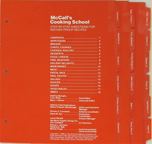 McCall's Cooking School Set Of 18 Printed Tabbed Dividers (For 3-Ring Cookbook Binders) Title