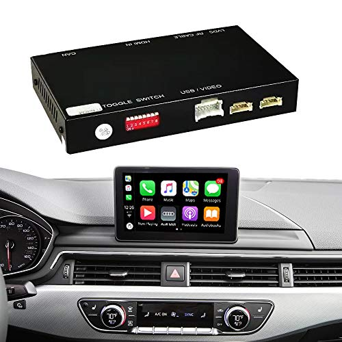 Road Top Retrofit Kit Decoder with Wireless Apple CarPlay Android Auto Interface for Audi S4 S5 A4 A5 Q7 Q5 2015-2019 Year with Factory 7 inch Monitor Car, Support Mirror Link AirPlay CarPlay Function
