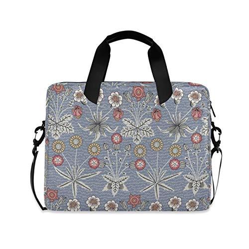 RELEESSS Laptop-Hülle, Vintage-Blume, Laptop-Handtasche, Aktentasche, Kuriertasche, Tragetasche, Tasche, verstellbarer Schultergurt