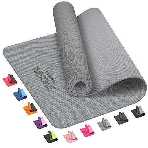 SYOSIN Yogamatte, 6 mm, TPE, rutschfeste Yogamatte für Workout, umweltfreundliche Übungsmatte für Zuhause, Fitnessmatte für Training, Yoga, Pilates, 183 x 61 x 0,6 cm