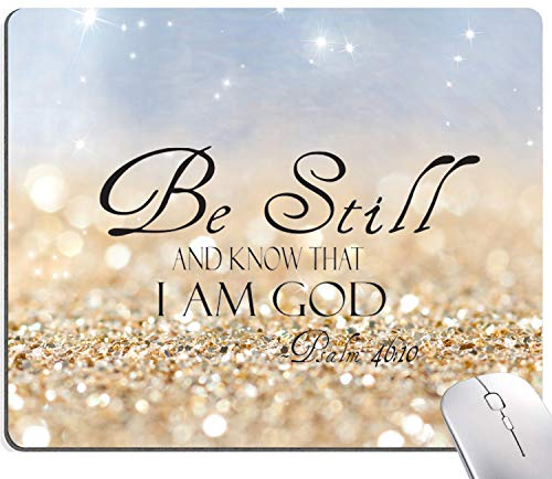 """Christian Bible Verses Mouse Pad, Sky Blue Glitter Gaming Mouse Pad, Square Waterproof Mouse Pad Non-Slip Rubber Base MousePads for Office Home Laptop Travel, 9.5""""x7.9""""x0.12"""" Inch,Be Still"""