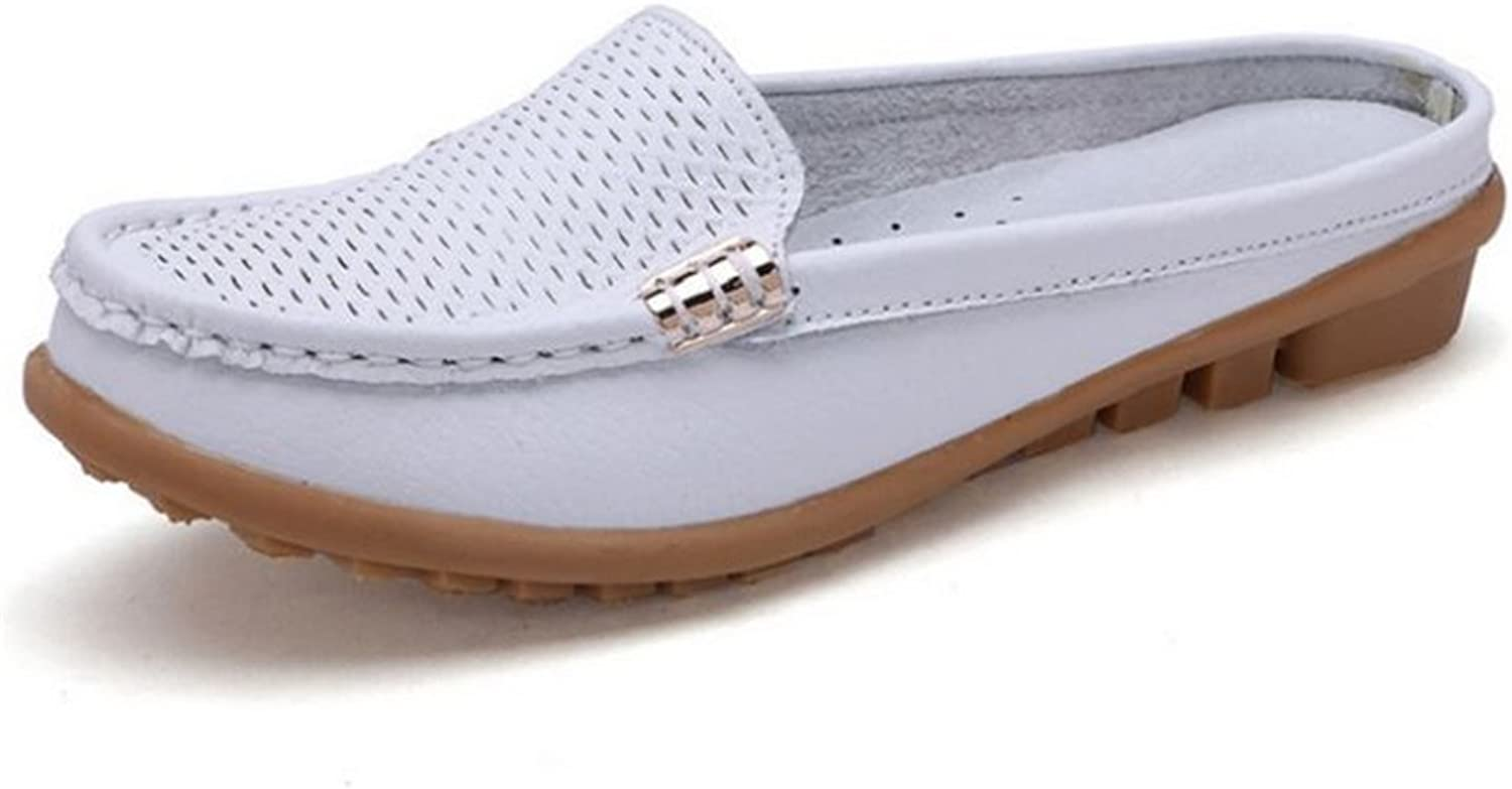 Fancyww Women's Hollow Leather Lazy Loafers Flats Slip On Mules shoes Walking Slippers